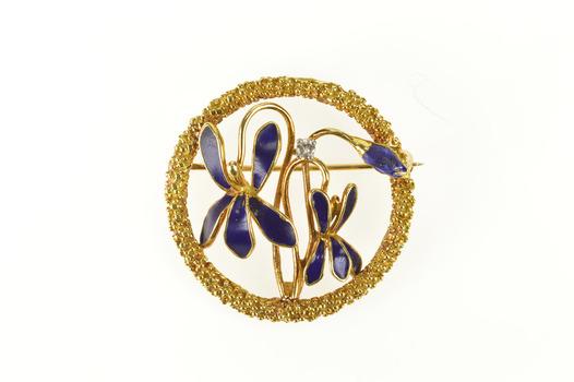 18K Art Nouveau Blue Enamel Flower Diamond Yellow Gold Pin/Brooch