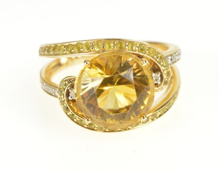 18K Citrine Yellow Topaz Diamond Bypass Cocktail Yellow Gold Ring, Size 6.5