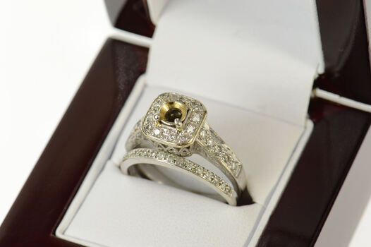 18K Classic Diamond Engagement Set Setting White Gold Ring, Size 8.75