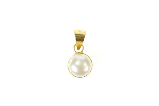 18K Classic Simple Round 8.0mm Pearl Yellow Gold Pendant