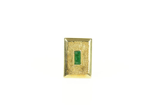 18K Columbian Emerald Textured Square Lapel Yellow Gold Pin/Brooch