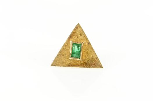 18K Columbian Emerald Triangle Textured Lapel Yellow Gold Pin/Brooch