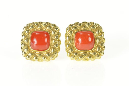 18K Coral Quilted Squared French Clip Back Yellow Gold Earrings