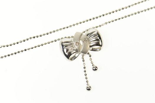 "18K Diamond Bow Ribbon Dangle Ball Link Chain White Gold Necklace 15.5"""