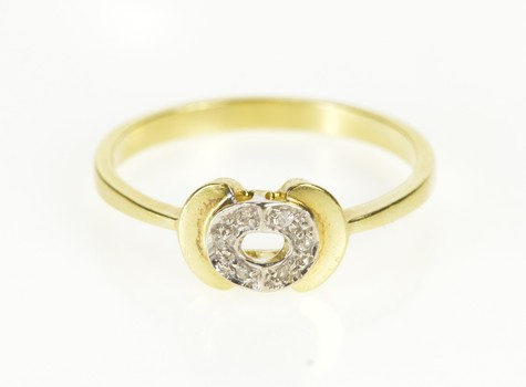 18K Diamond Circle Tiered Geometric Stackable Yellow Gold Ring, Size 7.25