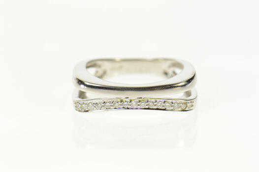 18K Diamond Curved Design Statement Band White Gold Ring, Size 6.75