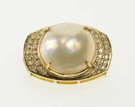 18K Diamond Inset Encrusted Fancy Cultured Pearl Yellow Gold Pendant