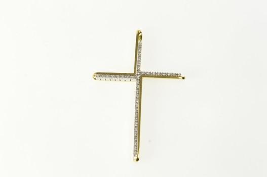 18K Diamond Inset Ornate Cross Christian Faith Yellow Gold Pendant