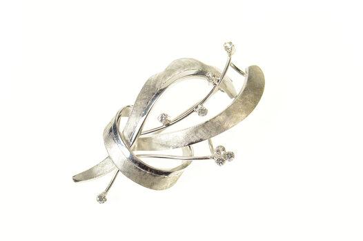 18K Diamond Inset Retro Ribbon Statement White Gold Pin/Brooch