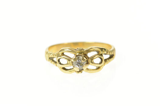 18K Diamond Solitaire Retro Simple Promise Yellow Gold Ring, Size 8