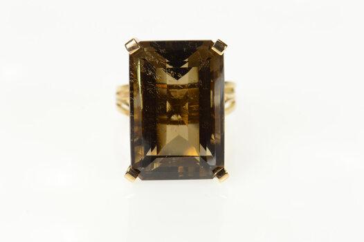 18K Emerald Cut Smoky Quartz Cocktail Yellow Gold Ring, Size 8.75