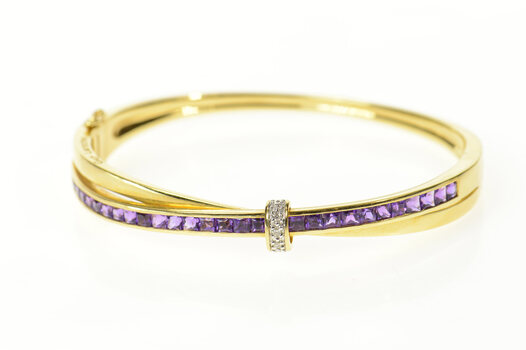 "18K Guy Laroche Amethyst Diamond Bangle Yellow Gold Bracelet 6.5"""