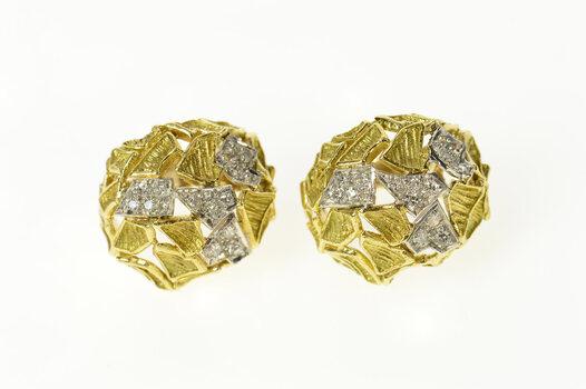 18K J Rossi Designer Diamond French Clip Yellow Gold Earrings