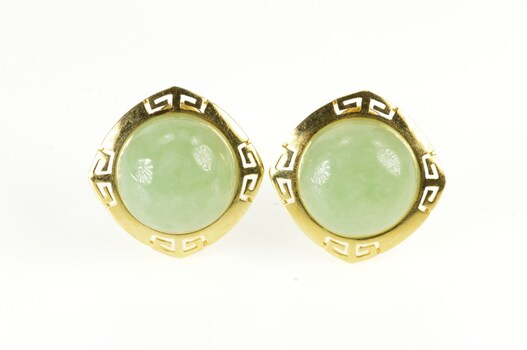 18K Jade Cabochon Ornate Statement Clip Back Yellow Gold Earrings