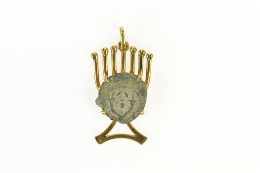 18K Jewish Faith Menorah Israel Jerusalem Coin Yellow Gold Charm/Pendant