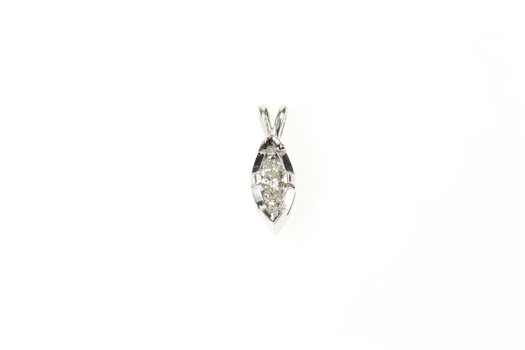 18K Marquise Diamond Cluster Classic Statement White Gold Pendant