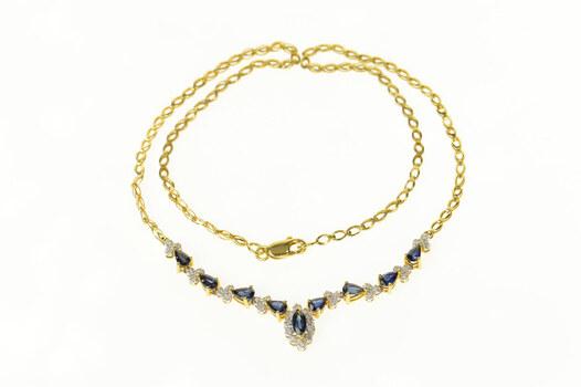 "18K Marquise Sapphire Diamond Chevron Statement Yellow Gold Necklace 16.25"""