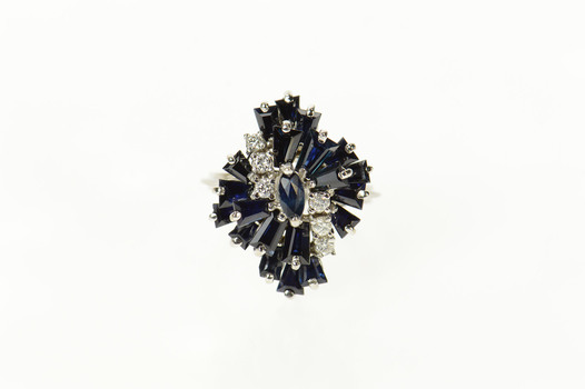 18K Marquise Sapphire Diamond Cluster Statement White Gold Ring, Size 6.25