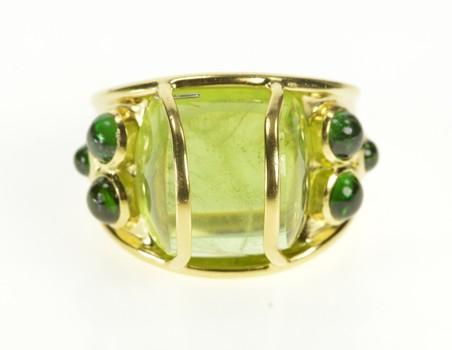 18K Massive Peridot Green Tourmaline Statement Yellow Gold Ring, Size 7.5