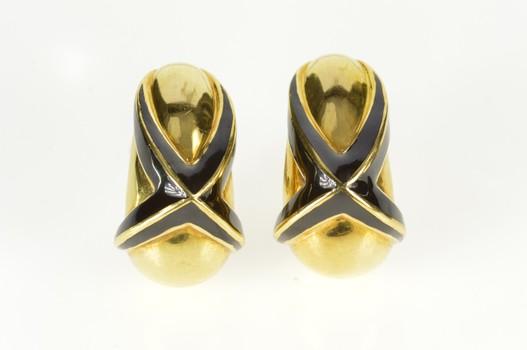 18K Mavito Designer Black Enamel X Statement Yellow Gold Earrings