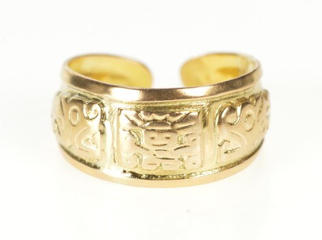 18K Mayan Tribal Motif Ancient Symbol Cuff Yellow Gold Ring, Size 8.25