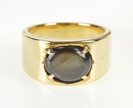 18K Men's Oval Black Sapphire Retro Fashion Band Yellow Gold Ring, Size 9.75