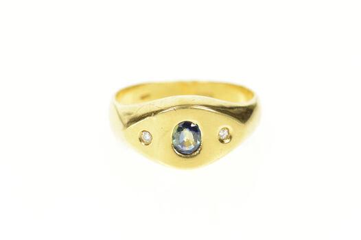 18K Men's Oval Sapphire Diamond Accent Retro Yellow Gold Ring, Size 9.75