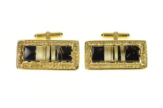 18K Men's Rutilated Quartz Black Onyx Ornate Yellow Gold Cuff Links