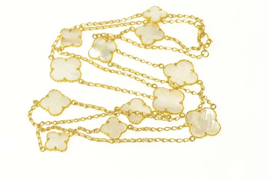 """18K Mother of Pearl Flower Clover Chain Opera Yellow Gold Necklace 47"""""""