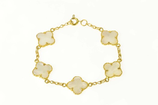 """18K Mother of Pearl Flower Statement Chain Yellow Gold Bracelet 7.25"""""""