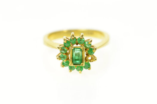 18K Natural Emerald Halo Retro Statement Cocktail Yellow Gold Ring, Size 4.5