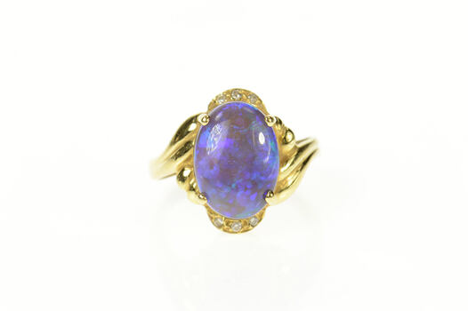 18K Ornate Black Opal Diamond Cocktail Yellow Gold Ring, Size 6