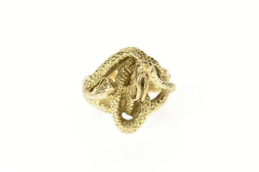 18K Ornate Coiled Snake Dragon Serpent Statment Yellow Gold Ring, Size 7.25