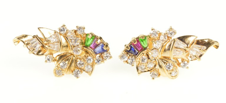 18K Ornate Cubic Zirconia Encrusted Statement Yellow Gold Earrings