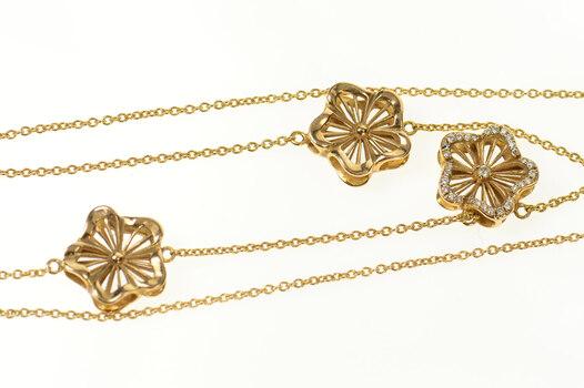 "18K Ornate Diamond Inset Flower Link Chain Rose Gold Necklace 18"""