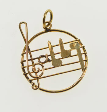 18K Ornate Music Staff Symbols Treble Clef Notes Yellow Gold Charm/Pendant