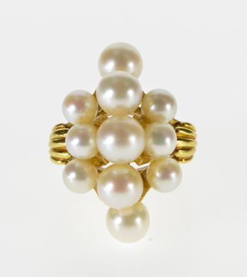 18K Ornate Pearl Cluster Statement Cocktail Yellow Gold Ring, Size 5.75