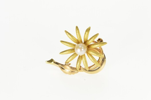 18K Ornate Retro Flower Pearl Inset Fashion Yellow Gold Pin/Brooch