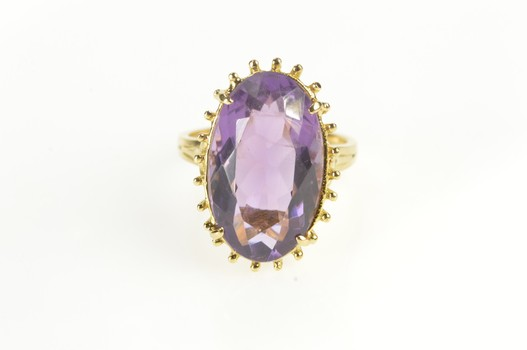 18K Oval Amethyst Cocktail Statement Flashy Yellow Gold Ring, Size 7