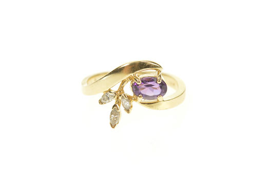 18K Oval Amethyst Diamond Leaf Accent Bypass Yellow Gold Ring, Size 4.25