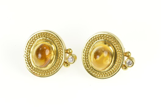 18K Oval Citrine Diamond Accent Rope Trim Clip On Yellow Gold Earrings