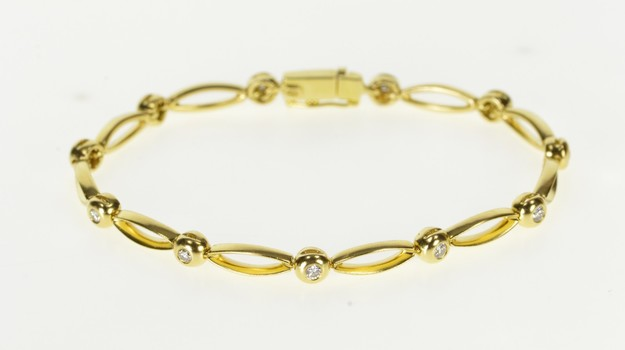 18K Oval Link Round Diamond Inset Tennis Yellow Gold Bracelet 6.75""