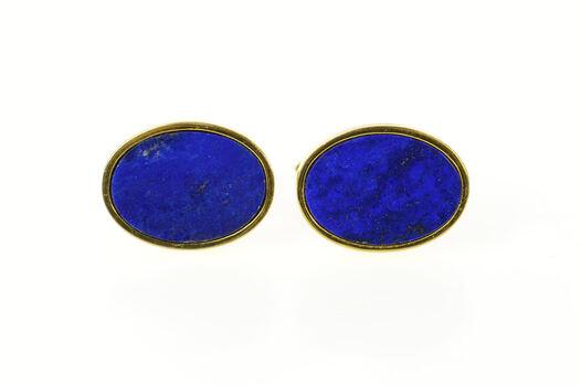 18K Oval Retro Lapis Lazuli Inset Classic Yellow Gold Cuff Links