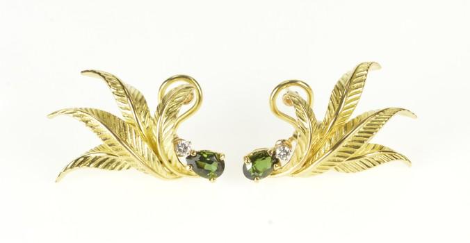 18K Pear Green Tourmaline Diamond Curved Leaf Yellow Gold Earrings