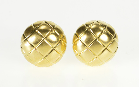 18K Plaid Design Ornate Button French Back Yellow Gold Earrings