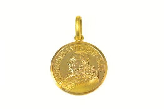 18K Pope John XXIII Catholic Church Faith Yellow Gold Charm/Pendant