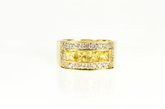 18K Princess Citrine CZ Channel Squared Halo Band Yellow Gold Ring, Size 8.25