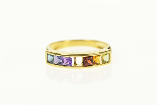18K Princess Rainbow Gemstone Statement Band Yellow Gold Ring, Size 6.5