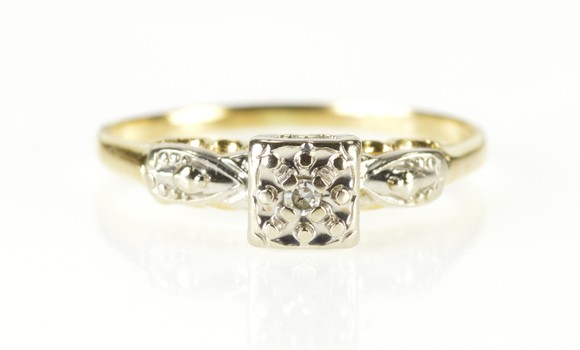 18K Retro Diamond Solitaire Two Tone Promise Yellow Gold Ring, Size 7