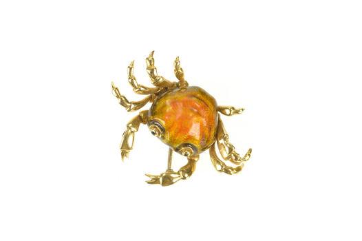 18K Retro Enamel 3D Crab Cancer Astrology Zodiac Yellow Gold Pin/Brooch